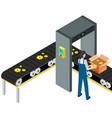 man puts parcels in cardboard boxes conveyor vector image