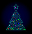 network mesh christmas tree with glowing vector image