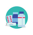 pills and bottle for use in medicine vector image