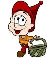 Red Little Elf With Basket vector image vector image