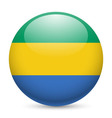 Round glossy icon of gabon vector image vector image
