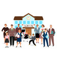 school building teachers and students vector image vector image