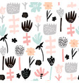 seamless pattern with hand drawn flowers creative vector image vector image