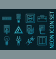 set electricity blue glowing neon icons vector image vector image