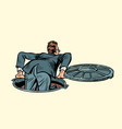 sewer manhole businessman climbs up vector image vector image