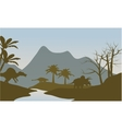 Silhouette of dinosaur in riverbank vector image
