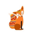 Simple Fox Wearing Tribal Clothing vector image
