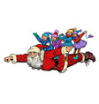 superhero santa claus with children christmas and vector image vector image