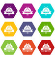 sword icons set 9 vector image vector image