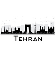 Tehran City skyline black and white silhouette vector image vector image