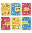 thin line people at road works brochure cards set vector image vector image