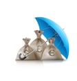 Umbrella protecting sacks vector image