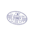 visa stamp to australia sydney isolated ship sign vector image