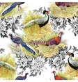 Wild Pheasant animals birds in watercolor floral vector image vector image