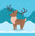 winter card with deer and snowing weather vector image