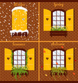 with window in four seasons vector image vector image