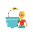 woman with desktop computer and airplane paper vector image vector image