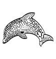 word cloud dolphin vector image vector image