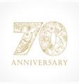70 anniversary vintage logo vector image