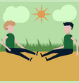 a guy and a girl are sitting on a trail near the vector image