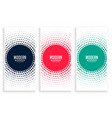 abstract circular halftone banners set vector image vector image
