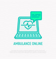 ambulance online opened laptop with heartbeat vector image