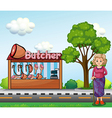 An old woman near the butcher house vector image vector image