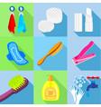bathroom stuffs icons set flat style
