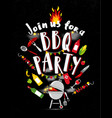 bbq party invitation on black background with vector image