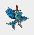 bird stabbed with a sword vector image vector image