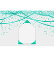 blank card with confetti and ribbons vector image vector image