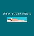 cartoon correct sleeping body posture set vector image vector image