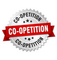 co-opetition round isolated silver badge vector image vector image