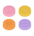 colorful mid-autumn festival mooncakes designs vector image vector image