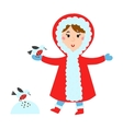 Cute girl in red jacket makes snow bird vector image