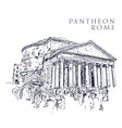 drawing sketch pantheon rome vector image vector image