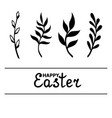 easter greeting card with willow and palm branches vector image vector image