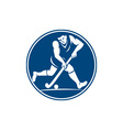 Field Hockey Player Running With Stick Icon vector image