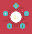 flat icons night playful fish sunshine and other vector image vector image