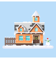 flat style of winter house with snowman vector image vector image