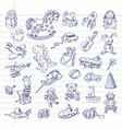 freehand drawing retro toys items vector image