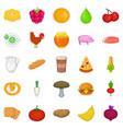 fresh food icons set cartoon style vector image vector image
