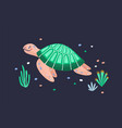funny amusing sea turtle isolated on dark vector image