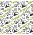 hand drawn seamless pattern with camping holiday vector image vector image