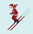 happy santa skiing down a mountain vector image