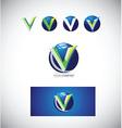 Letter v 3d logo icon vector image vector image