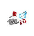 logotype h modern template set vector image vector image