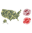 military camouflage collage of map of usa and vector image