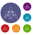 muscular man with tattoo icons set vector image vector image