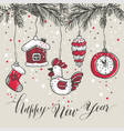 new years toys hand drawn style greeting card vector image